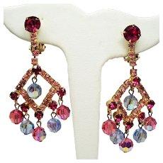 Vintage Juliana D&E Fuchsia Pink Rhinestone Faceted Bead Chandelier Earrings
