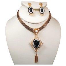 Vintage D&E Juliana Heart Scrolls Cameo Choker Necklace Drop Earrings Demi Parure