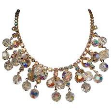 Vintage D&E Juliana Aurora Borealis Rhinestone Drippy Crystal Bead Necklace