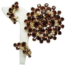 Vintage D&E Juliana Topaz Rhinestone Large Dimensional Brooch & Wrap Earrings Demi Parure