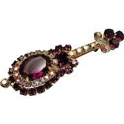 Vintage D&E Juliana Purple Rhinestone Mandolin Brooch