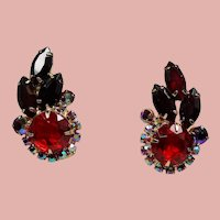 Vintage D&E Juliana Red Rhinestone Climbing Earrings