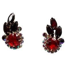 Vintage D&E Juliana Red Rhinestone Climbing Earrings