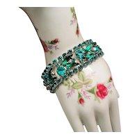 Vintage D&E Juliana Teal and Green Rhinestone Flat Bracelet