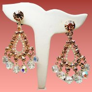 Vintage D&E Juliana Golden Topaz Rhinestones Drippy Crystals Large Chandelier Earrings