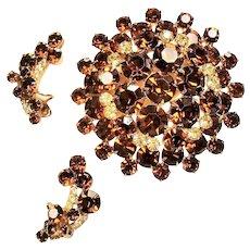 Vintage D&E Juliana Topaz Rhinestone Large Tiered Brooch Earrings Set