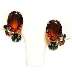 Vintage D&E Juliana Topaz Green Rhinestone Earrings