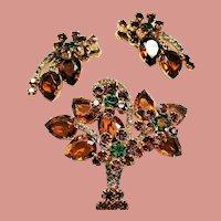 Vintage D&E Juliana Topaz Pear Open Back Stone Flower Basket Brooch Earrings Demi Parure