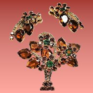 Vintage D&E Juliana Topaz Pear Open Back Stone Flower Basket Brooch Earrings Demi Parure