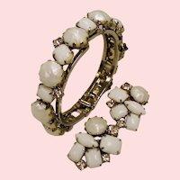 Vintage Juliana D&E White Rhinestone Bangle Clamper Bracelet Earrings Set