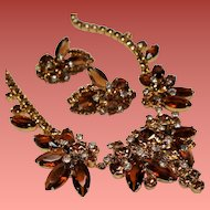 Vintage D&E Juliana Topaz Navette Rhinestone Cluster Necklace Earrings Demi Parure