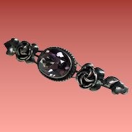 Antique Edwardian Sterling Germany Amethyst and Roses Pin.