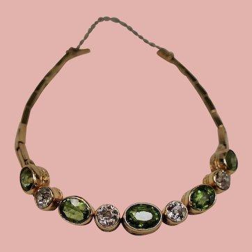 Antique Edwardian Peridot and Old European Cut Diamond 14K Bracelet