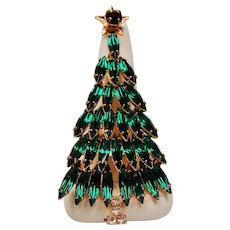 Vintage Eisenberg Ice Emerald Green Navette Rhinestone Large Christmas Tree Brooch Pin