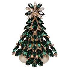 Vintage Eisenberg Green Navette Rhinestone Large Christmas Tree Pin Brooch