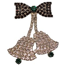 Vintage Eisenberg Ice Rhinestone Christmas Bells Brooch Pin