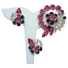 Vintage Eisenberg Pink Purple Rhinestone Spray Brooch Earrings Set