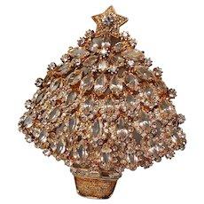 Vintage Eisenberg Ice Colorless Navette Rhinestone Large Christmas Tree Brooch Pin
