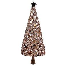 Vintage Eisenberg Ice Tall Rhinestone Christmas Tree Pin Brooch