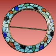 Antique Guilloche Champleve Enamel Round Petite Circlet Pin