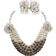 Vintage Faceted Crystal Bead & Rhinestone Rondelle Drippy Swag Necklace Earrings Set