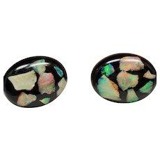 Vintage Floating Fiery Opal Oval Cufflinks