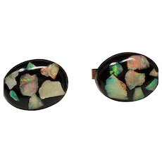 Vintage Floating Fiery Opal Oval Cufflinks