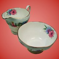 "Vintage Foley English Bone China ""Cornflower"" Cream & Sugar Set"