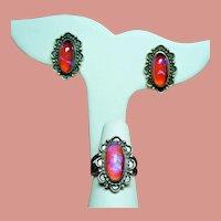 Vintage Fred Harvey Era Sterling Dragons Breath Stones Ring & Earrings Set