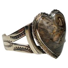 Vintage Fred Harvey Era Large Petrified Wood Heart Sterling Cuff Bracelet