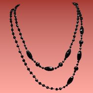 Vintage French Jet Faceted Bead Long Flapper Necklace