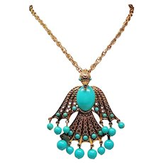 Vintage Large Phoenix Bird Faux Turquoise Pendant Necklace