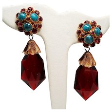 Vintage Faux Turquoise Cabochon Rhinestone Cluster Large Red Lucite Long Drop Earrings