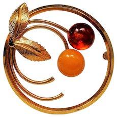 Vintage Amber Gold Filled Circle Pin