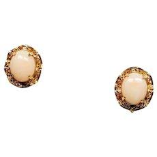Vintage Angel Skin Coral Cabochon Gold Filled Screw Back Earrings