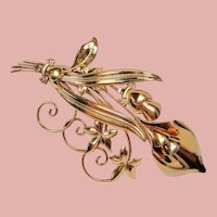 Vintage Retro Modern Calla Lilly Large Gold Filled Brooch Pin