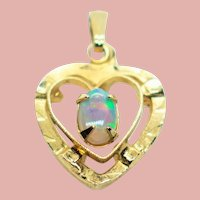Vintage Opal Gold Filled Petite Heart Pendant