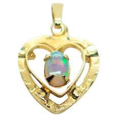 Vintage Opal Gold Filled Petite Heart Pendant