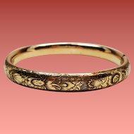 """Vintage Gold Filled Repousse """"Anna"""" Hinged Bangle Bracelet"""