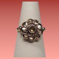 Antique Georgian Rose Cut Diamond Cluster Silver & 14K Engagement Ring