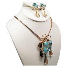 Vintage Retro Modern Huge Aqua Glass Stone Gold Filled Necklace Drop Earrings Set