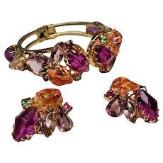 Vintage Faceted Glass Lucite Pebble Clamper Bracelet Earrings Set