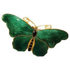 Vintage Sweden Green Enamel Butterfly Pin