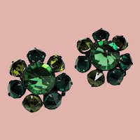 Vintage Green Inverted Rhinestone Black Japanned Earrings