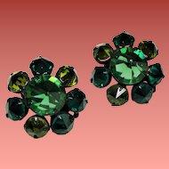 Vintage Green Inverted Rhinestone Black Japanned Earrings