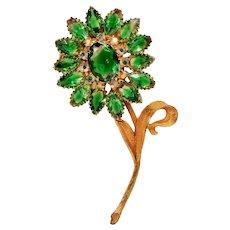 Vintage Green Givre Rhinestone Large Dimensional Flower Brooch