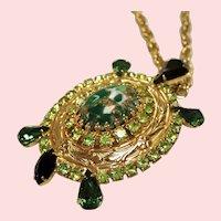 Vintage Green Rhinestone Turtle Pendant Necklace