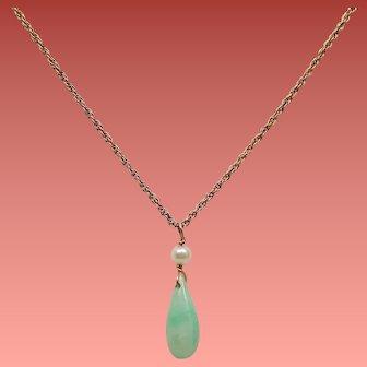 Vintage Jadeite Tear Drop Cultured Pearl Gold Filled Pendant Necklace