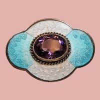 Antique Guilloche Champleve Enamel Amethyst Glass Petite Pin