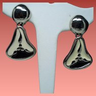 Vintage Givenchy Cream Black Enamel Silver Tone Drop Earrings